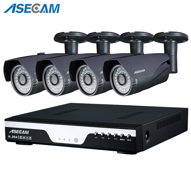 Super 3MP Full HD 4 Channel 1920P Surveillance Camera kit Gray Metal Bullet Outdoor Security Camera 4CH DVR CCTV System p2p
