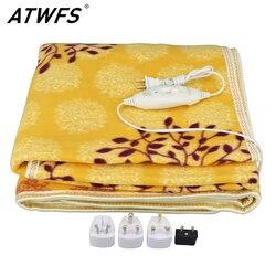 ATWFS безопасное электрическое плюшевое одеяло, двойная кровать, Электрический термостат, подогреватель одеяла ковер-обогреватель 150*120 см, зи...