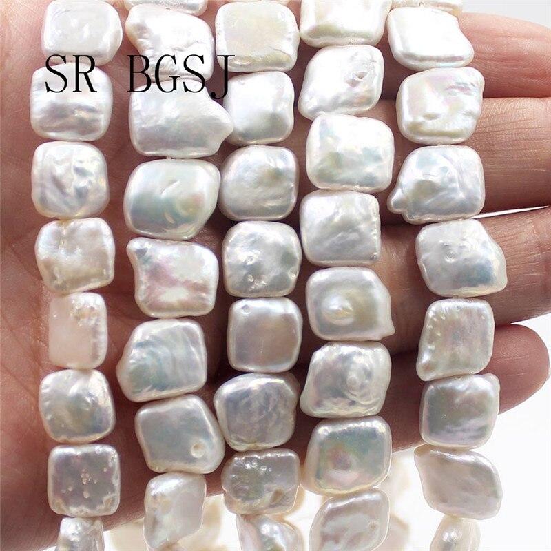 dd719c7592ee Envío Gratis 11-12mm al por mayor blanco cuadrado barroco Natural genuino  agua dulce perlas hebra ...