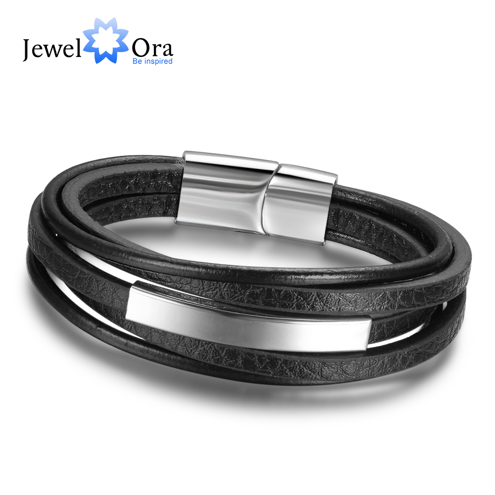 Genuine Leather Bracelets For Men Stainless Steel Bracelets & Bangles Fashion Accessorise Father's Day Gift (JewelOra BA101879) fashion jewelry copper color 2 style bracelets mens stainless steel hologram magnet bracelets bangles for man trendy gift
