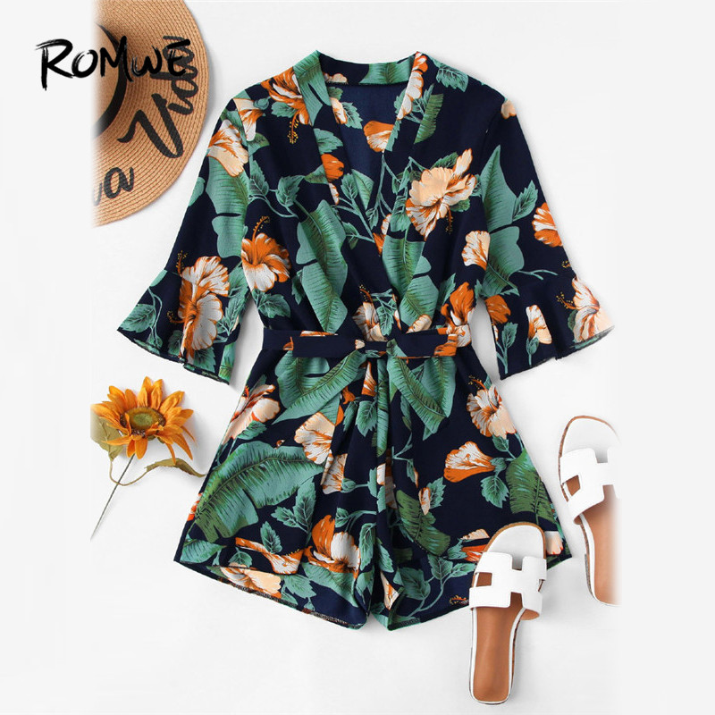 ROMWE Fluted Sleeve Floral Print Surplice Romper With Belt Women 2018 Summer Vocation Three Quarter Floral V neck Romper ...