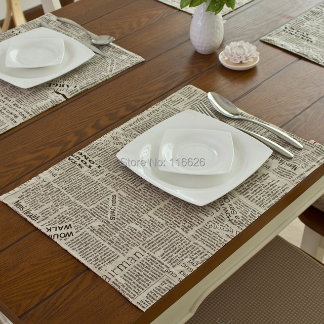 Great Fashion Linen Fabric Placemat Heat Insulation Mat Dining Table Mat Coasters  32x45cm Newspaper Printing