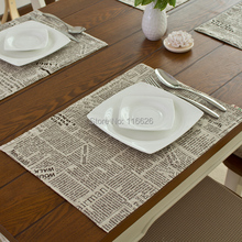 Fashion linen fabric placemat heat insulation mat dining table mat coasters 32x45cm newspaper printing