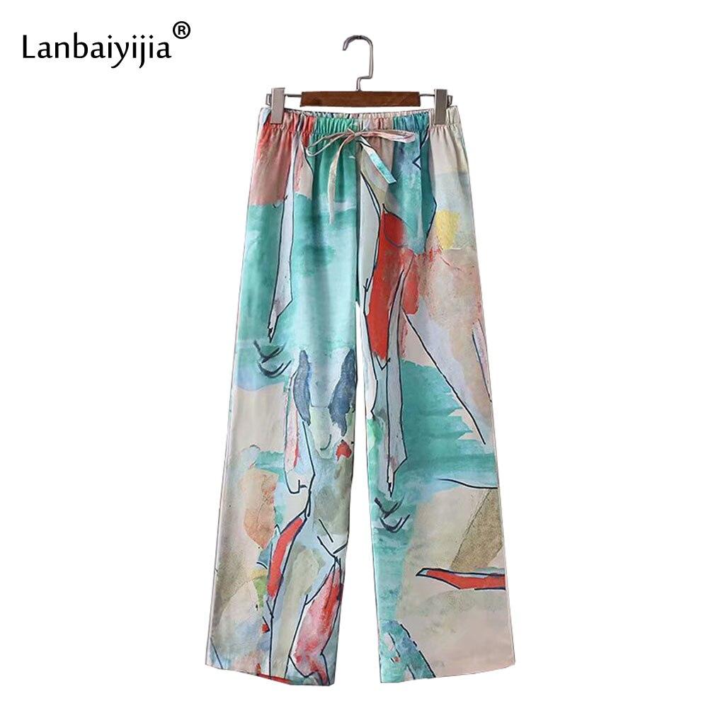 Lanbaiyijia date abstraite aquarelle impression pantalon lâche été large jambe pantalon femmes élastique taille haute femmes pantalon S M L