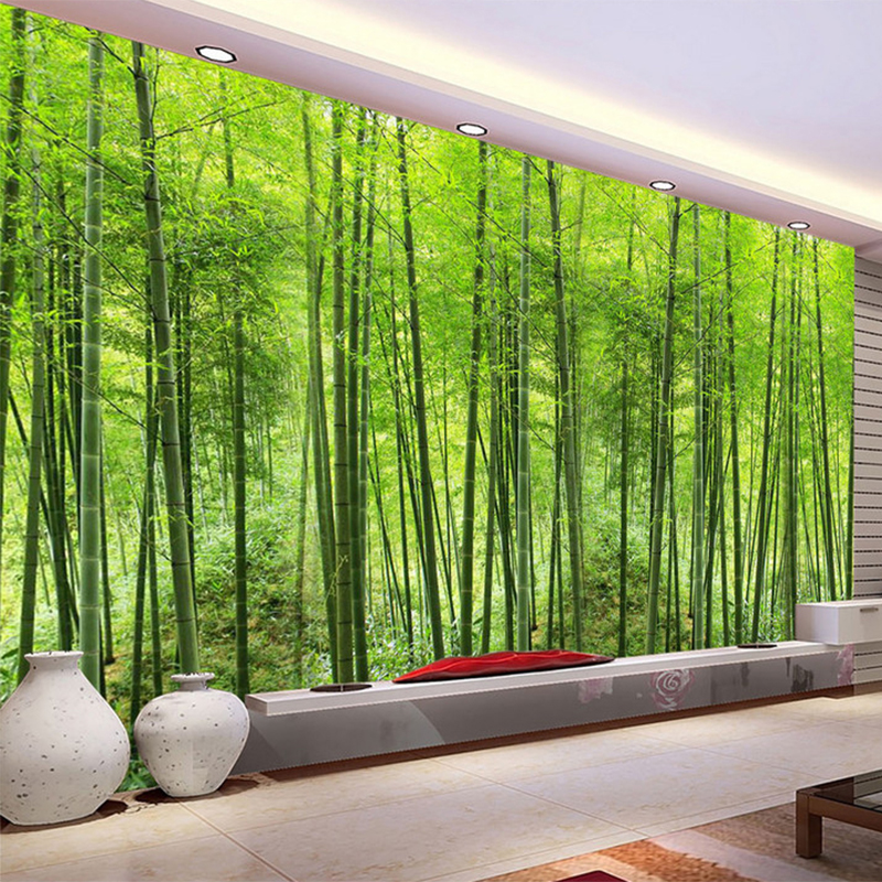 HD Green Bamboo Forest Natural Landscape Photo Mural Wallpaper Living Room Study Setting Room Backdrop Eco-Friendly Wallpaper