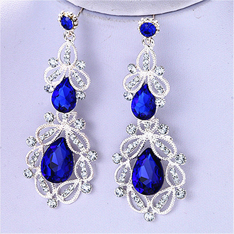New Long Dangle Bridal Wedding Earrings Crystal Blue Gold Color for Women Bar Rhinestone Drop Earing Fashion Jewelry Gifts in Drop Earrings from Jewelry Accessories