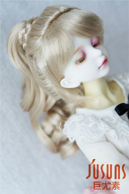 JD218 1/4  MSD synthetic mohair doll wigs Complex braid wig 7-8 inch BJD doll accessories 1 3 1 4 1 6 1 8 1 12 bjd wigs fashion light gray fur wig bjd sd short wig for diy dollfie