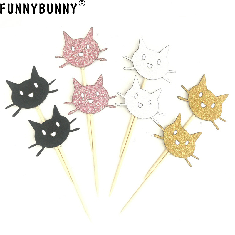 FUNNNYBUNNY <font><b>Cat</b></font> <font><b>Cupcake</b></font> <font><b>Toppers</b></font> Shiny Black Gold Silver and Pink Cute <font><b>Cat</b></font> Head Cake Top Decor for Baby Shower Birthday Party image