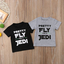 Pudcoco Pretty Fly Letters Gray/Black T-shirt For Toddler Baby Boys Short Sleeve Summer Tops Clothes(China)