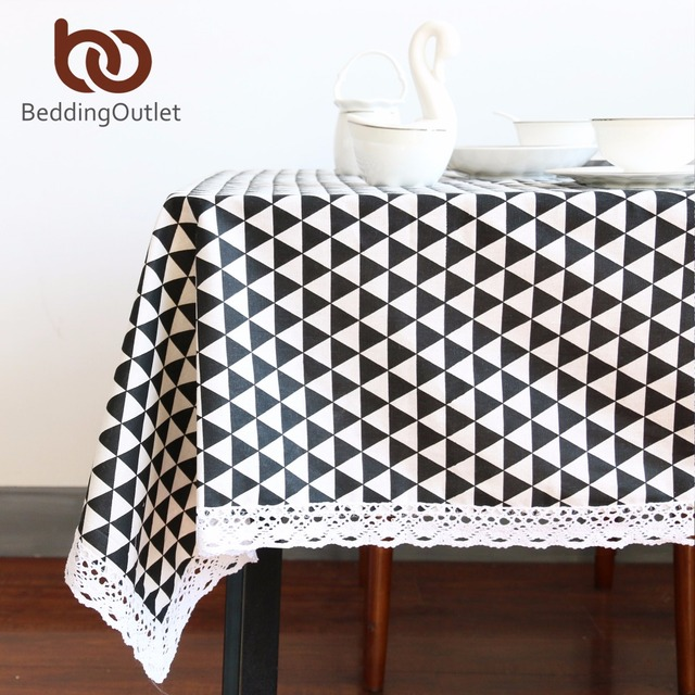 Beddingoutlet Black Triangle Tablecloth Cotton Linen Dinner Simple Table Cloth Macrame Decoration Lacy Cover Europe