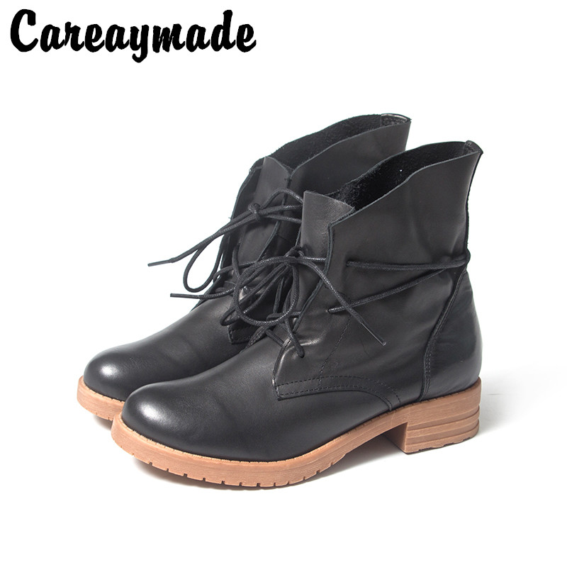 Careaymade 2019 New Spring genuine leather RETRO art soft short boots,tube with low help tie Martin women boots,Blck& Brown