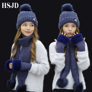 Image 2 - 2018 New Women Winter Hat Scarf /Gloves Sets Female Three   piece Knitted Hats Scarf Set Caps for Girl Warm Skullies Beanies hat