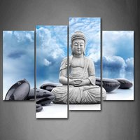Buddha And Spa Stone In Blue Sky Wall Art Painting Pictures Print On Canvas