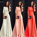 New Arrival Women Elegant Long Dress 2017 High Waist 3/4 Sleeve Maxi Dress Floor Length Slim Evening Party Dresses Vestido Longo