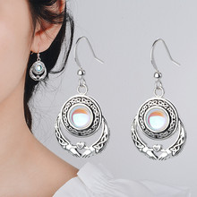 Long Natural Moonstone Earrings Vintage Dangle Party Fashion 925 Silver Jewelry Girls Gifts