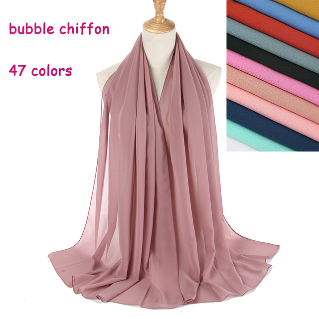 100 unids/lote gran tamaño alta calidad burbuja gasa mujeres musulmán Hijab bufanda chal envoltura liso sólido 47 colores