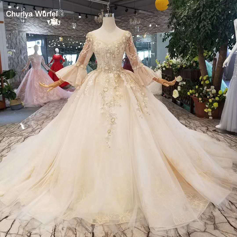 LSS180 Flare Sleeves Wedding Dresses Free Shipping Floor Length Or 100cm Train Wedding Gown O-neck Backless Bride Dress Wedding