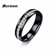 Maxmoon 2018 New Fashion Crystal Rings for men Black Gold Silver Color Stainless Steel Jewerly Gifts For Men Women(China)