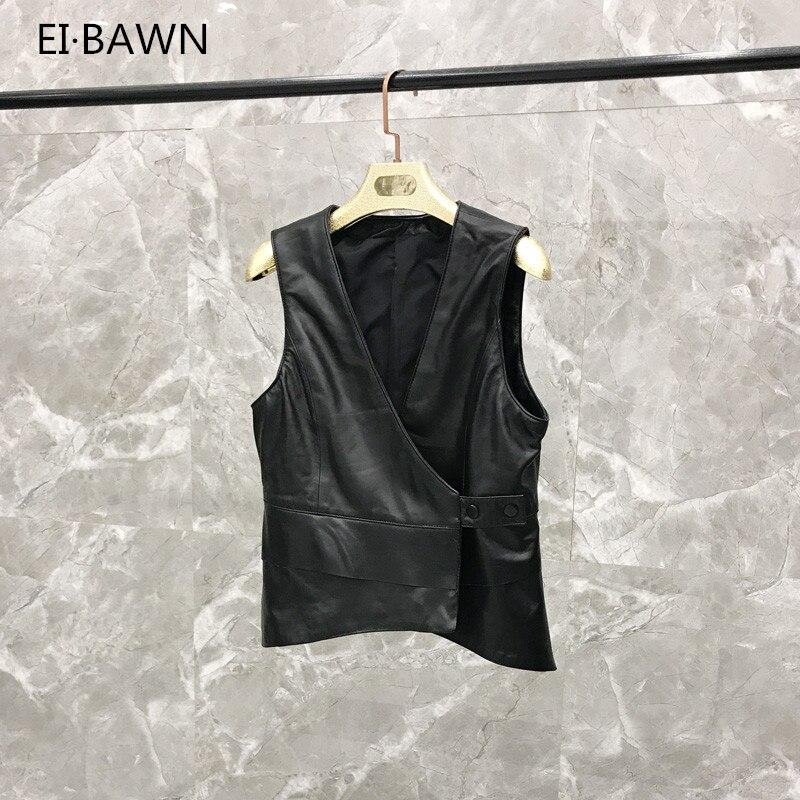 Sangle Véritable De Courte 2019 Black Cuir Gilet En Veste Mode Printemps Femmes Z8qZv0