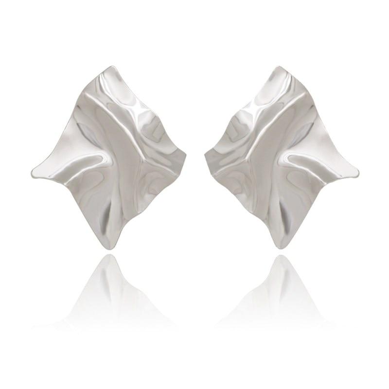 EK2126 Exaggerated Brand Gold Color Irregular Square Shiny Metal Big Drop Earrings Women Rhombus Punk Earrings Party Jewelry 3