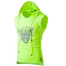 Mode 2019 Sommer baumwolle sport gym männer anzug weste hoody fitness hoodies sleeveless skeleton printe hüfte hop kleid vest(China)