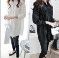 Бесплатная доставка китае женщины белый черный рубашки блузка широкий длинным рукавом Большой размер кружева лоскутное свободного покроя с отложным воротником блузки