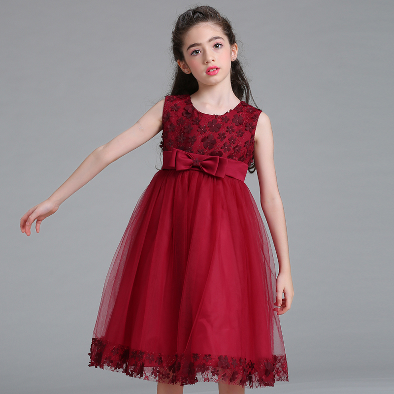 Détail Enfants Fille Party Dress 2019 Nouveau Style Flower Girl Robes De Mariée Avec Bow Girl Communion Robes LL314