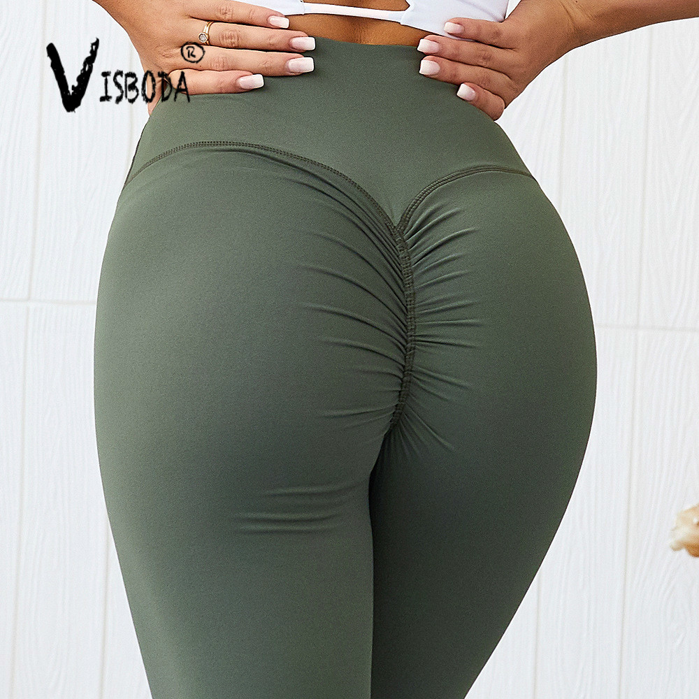High Quality Women Fitness Push Up Leggings High Waist Spandex Workout Legging Pants Fashion Ladies Solid Leggings Plus Size