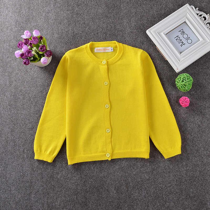 봄/가을 아기 소녀 학교 기본 소녀 스웨터 카디건 유아 어린이 캔디 색상 스웨터 니트 긴 소매 양모 스웨터
