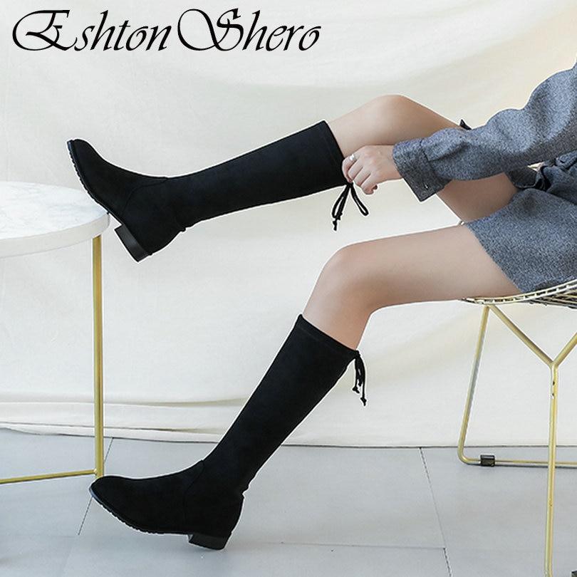 Tang Femme Lacets gris De 34 À Talon Eshtonshero Bout Bottes Partie Chaussures Mode Bas Se Taille Rond 42 Dames Automne Noir Flock jiao Cuissardes 8w47g71qE