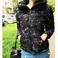 Hot 2016 nova primavera mulheres jaqueta casaco curto fino de algodão acolchoado Roupas outwear moda senhoras quentes Sólida Fino Zipper Outerwear