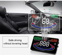 5.5 Inch Screen E300 GPS HUD Head Up Display Over Speed Alarm Reflection OBD2 Interface Auto Projector Car OBD II Driving Fuel