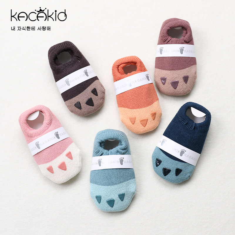 Kacakid baby Autumn winter socks new childrens small cute terry boat socks infant non-slip socks floor Socks