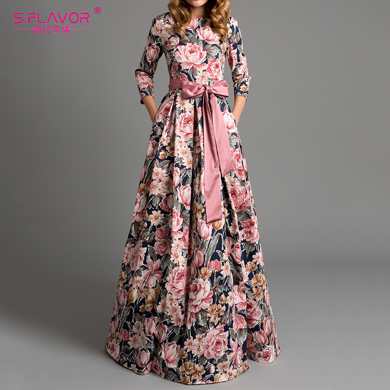 S.FLAVOR Bohemian printing long dress O-neck 3/4 sleeve big hem women Autumn Winter dress elegant casual vestidos de