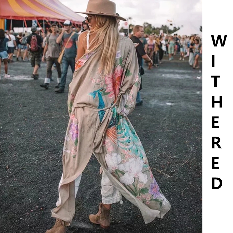 Withered   trench   women bohemian vintage Peacock and floral printing Wrap around kimono cardigan   trench   long coat women plus size