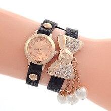 Enrolamento De Couro Quartz Relógio de Pulso das mulheres Lovely Bow Tie Pulseira Vestido Relógio Pingente de Pérola das Mulheres Relogio feminino Reloj Mujer