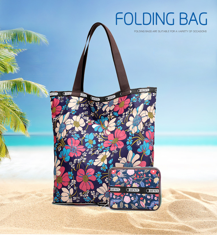 Portable Luggage Duffel Bag Hibiscus Pattern Travel Bags Carry-on In Trolley Handle