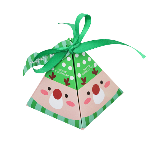 10 PCS/Set Merry Christmas Candy Box Bag Christmas Tree Gift Box With Bells Paper Box Gift Bag Container Supplies Navidad 4