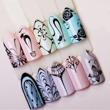 1 Sheet Black Water Transfer Nail Sticker Summer Cat Butterfly Necklace Flowers Full Cover Nail Art Decal Tip SASTZ497-499