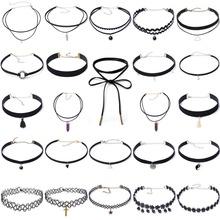 24 pcs Fashion Black Velvet Choker Lace Necklace Set Tattoo Collar Pendant Tassels for Charm Women Chokers Necklace