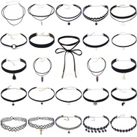 20 Pcs Stylish Black Velvet Choker Lace Necklace Tatto Collar Pendant Tassels For Charm Women Jewelry
