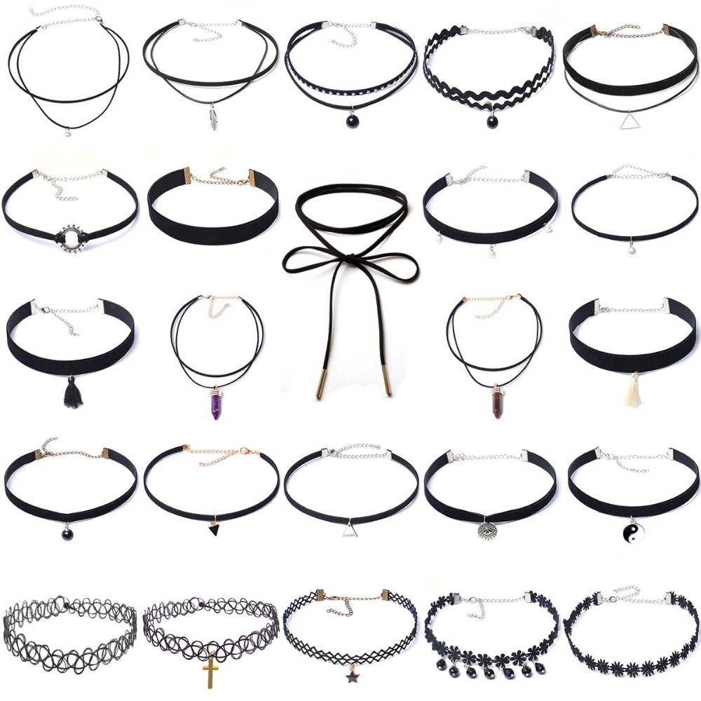 24 pcs Fashion Black Velvet Choker Lace Necklace Set Tattoo Collar Pendant Tassels for Charm Women Chokers Necklace gothic style black lace faux ruby teardrop choker necklace for women