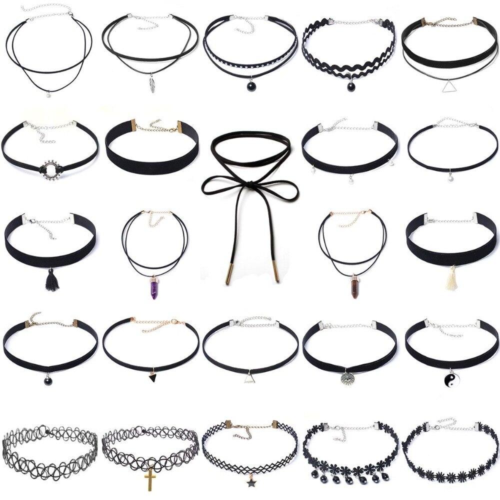24 unids Moda Collar de Gargantilla de Encaje de Terciopelo Negro Conjunto Tatuaje Collar Colgante Borlas Del Encanto Collar de Las Mujeres Gargantillas