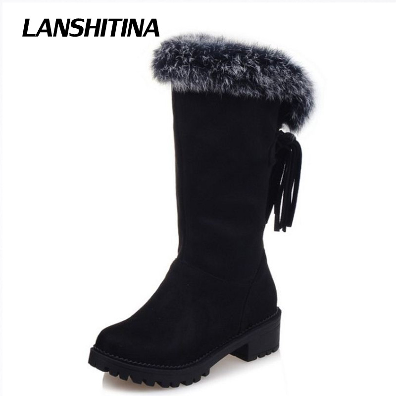 LANSHITINA Big Size 30-52 Women Half Boots Warm Winter Snow Flat Boot Riding Boot Wind Quality Leather Shoes Women Boots Botas