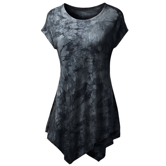 2017 New Summer Style Women's T shirts dress Fashion Casual Tops Printing Irregular Hem Short-Sleeve Cotton O-neck Hot Sale