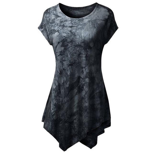 2017 Novo Estilo Verão das Mulheres T camisas de vestido Moda Casual Tops Impressão Irregular Hem Curto-Luva de Algodão O-pescoço Venda quente