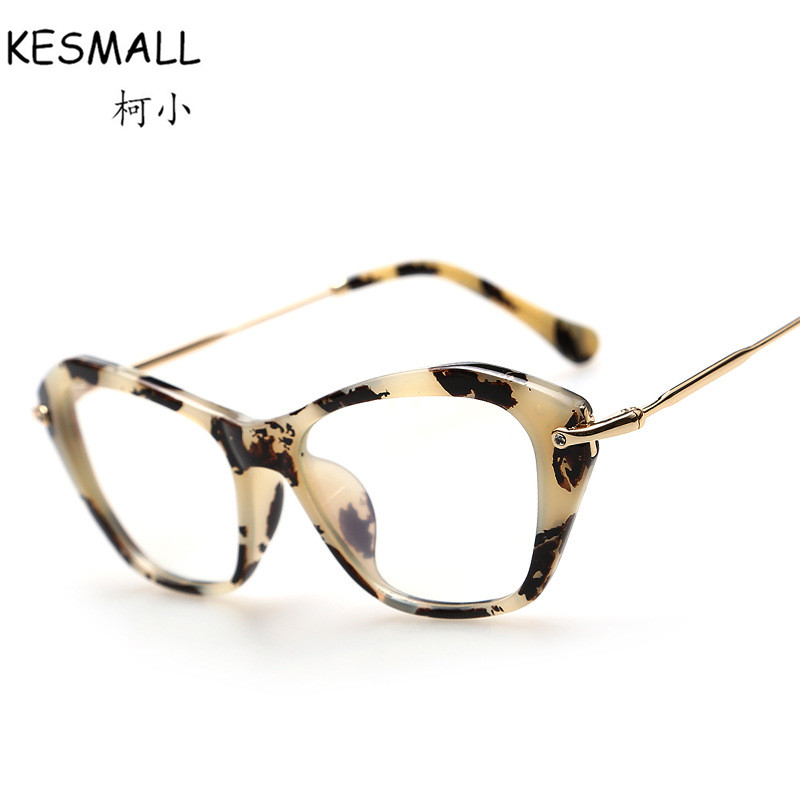 2017 Cat Eye Optical Glasses Frame font b Women b font Vintage Glasses Frames Leopard Style