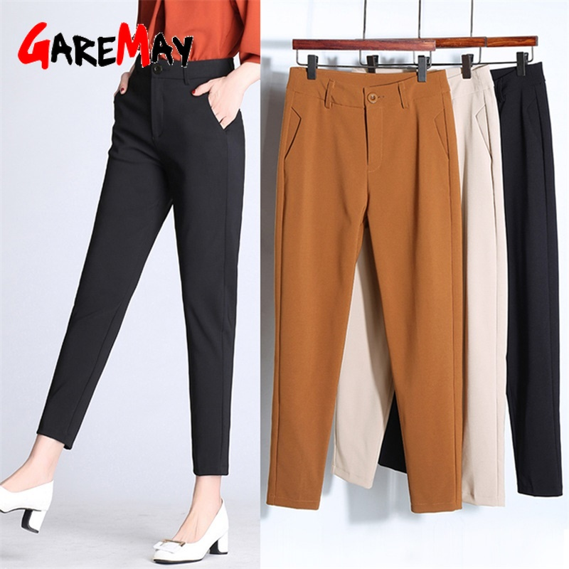 Garemay 2019 Summer Women's   Pants     Capris   Large Size Pecil High Waist Classic Women Harem Office   Pants   Suit Casual Trousers
