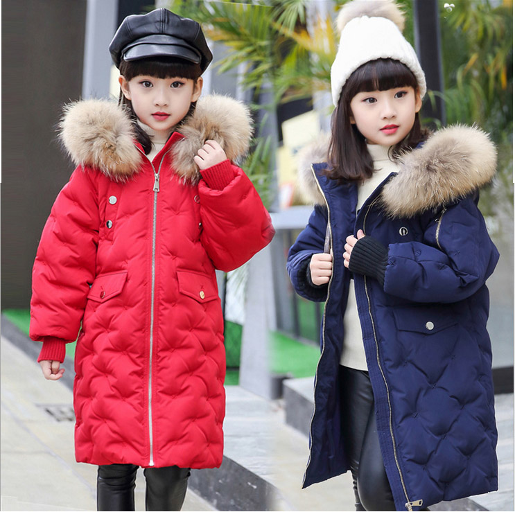 2017 new design girl boy thick jackets real fur hooded long coat kids big girl for cold Russia winter clothing dress overcoat