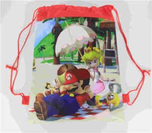 Image 4 - 20 Chiếc Super Mario Chủ Đề Vải Không Dệt Dây Rút Ba Lô Cho Bé Sinh Nhật Ủng Hộ Tặng 34*27Cm